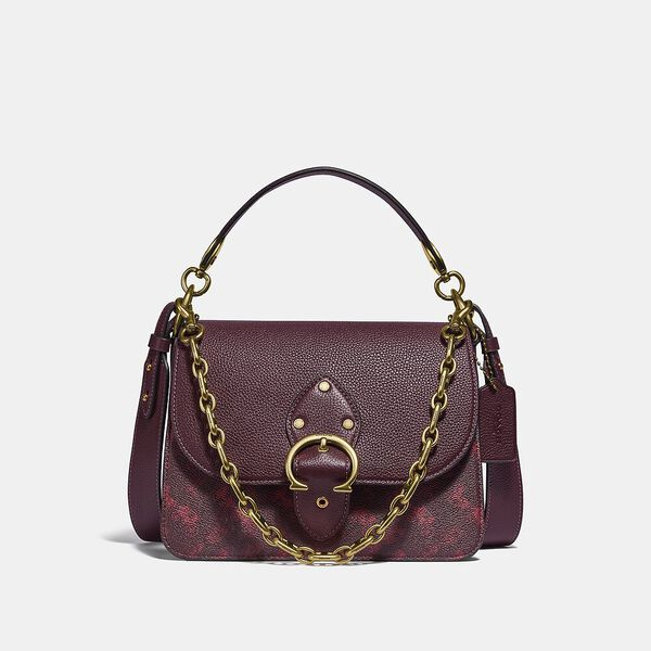 Beat Shoulder Bag With Horse And Carriage Print, B4/OXBLOOD CRANBERRY, hi-res