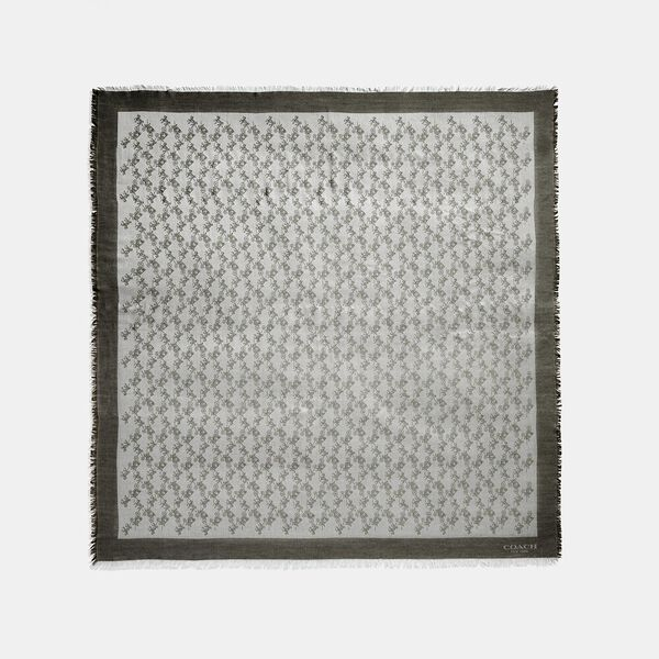 Horse And Carriage Jacquard Oversized Square Scarf, GREY, hi-res