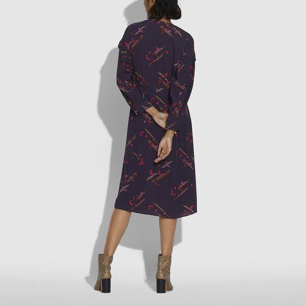 Crepe Draped Midi Dress, PURPLE/FUSCHIA, hi-res