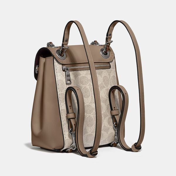 Parker Convertible Backpack 16 In Signature Canvas, LH/SAND TAUPE, hi-res