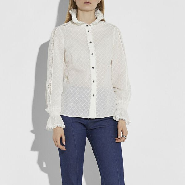 Long Sleeve Broderie Anglaise Top, CREAM, hi-res