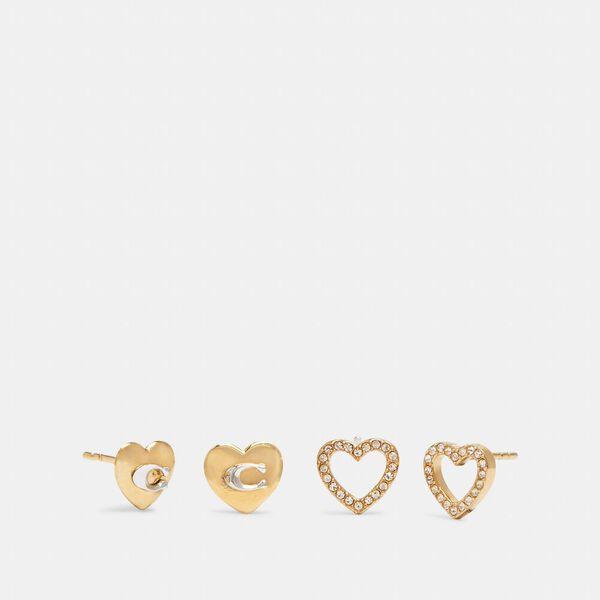 Heart Stud Earrings Set, GD/GOLD QUARTZ, hi-res