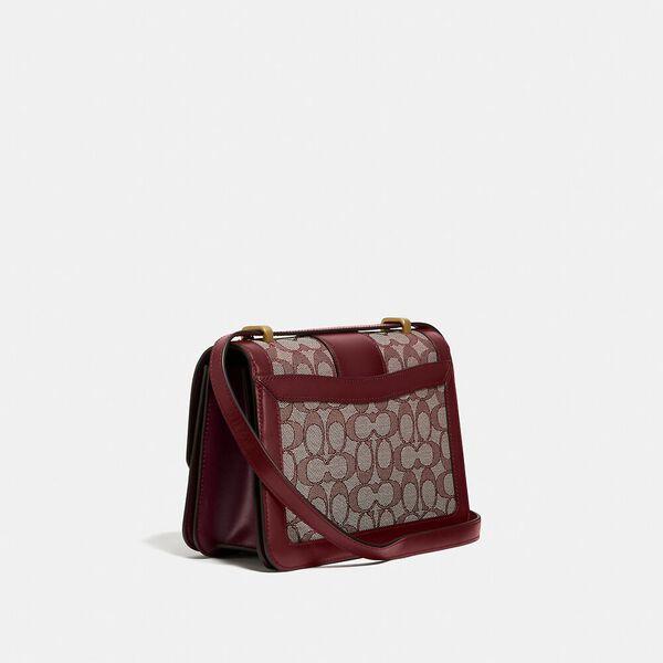 Alie Shoulder Bag In Signature Jacquard With Snakeskin Detail, B4/BURGUNDY BLK CHERRY, hi-res