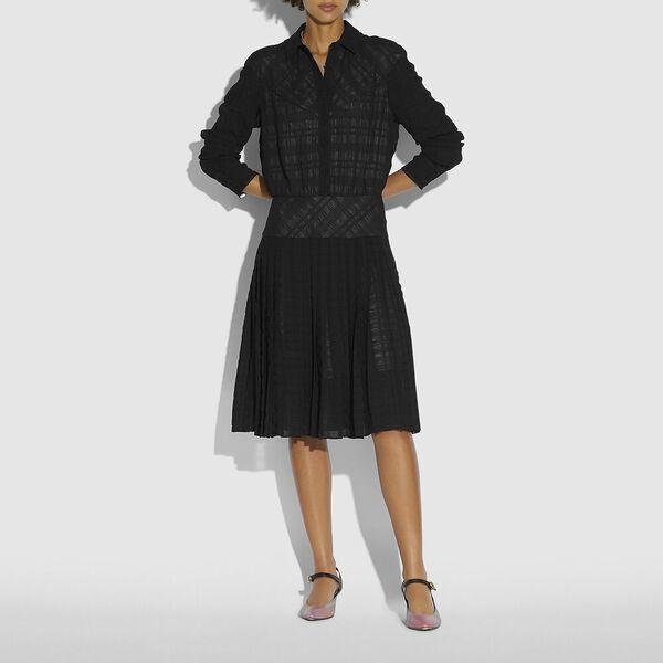 Plaid Pleated Shirt Dress, BLACK, hi-res