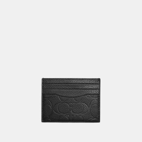 Card Case In Signature Leather, BLACK, hi-res