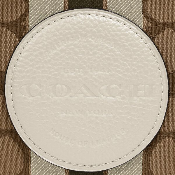 Mini Dempsey Camera Bag In Signature Jacquard With Stripe And Coach Patch, SV/KHAKI CLK PALE GREEN MULTI, hi-res