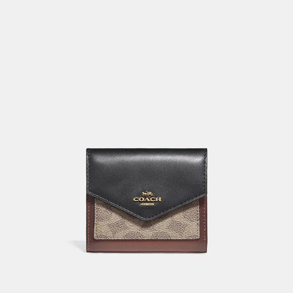 Small Wallet In Colourblock Signature Canvas, B4/TAN BLACK, hi-res