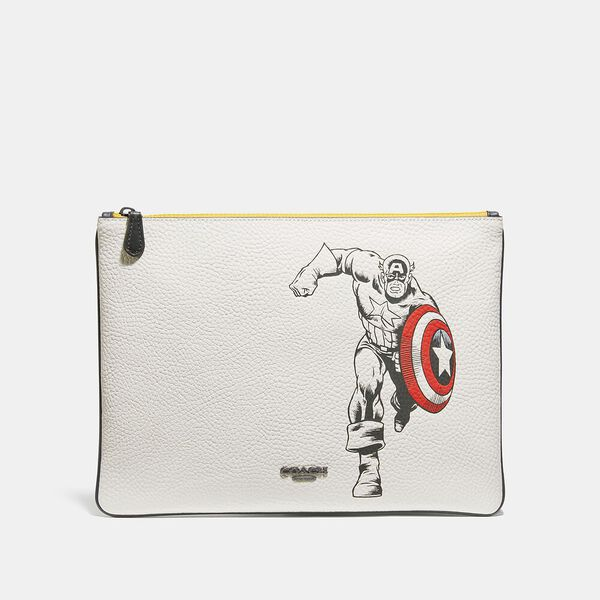 Coach x Marvel Large Pouch With Captain America, QB/CHALK MULTI, hi-res