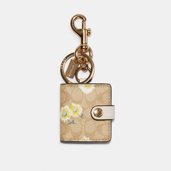 Picture Frame Bag Charm In Signature Canvas With Daisy Print