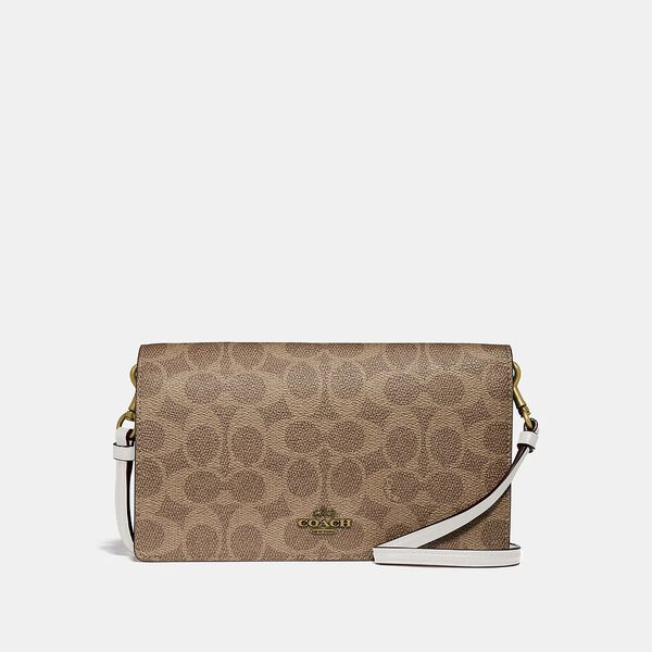 Hayden Foldover Crossbody Clutch In Colorblock Signature Canvas, B4/TAN CHALK, hi-res