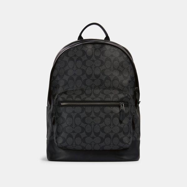West Backpack In Signature Canvas, QB/CHARCOAL BLACK, hi-res