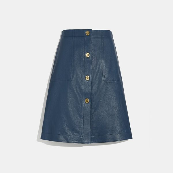 Leather Skirt With Turnlocks, Almost Navy, hi-res