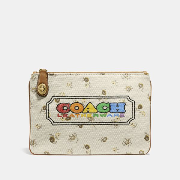 Turnlock Pouch 26 With Rainbow Coach Badge, B4/MULTI, hi-res