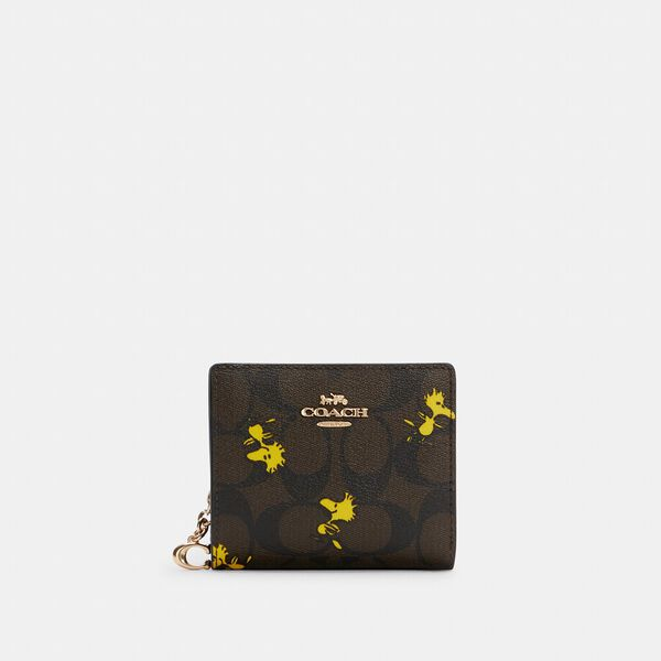 Coach X Peanuts Snap Wallet In Signature Canvas With Woodstock Print