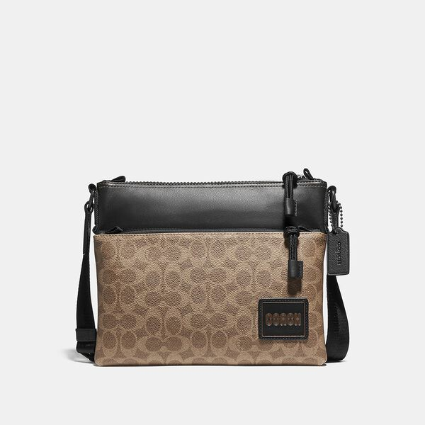 Pacer Crossbody In Signature Canvas With Coach Patch, JI/KHAKI, hi-res