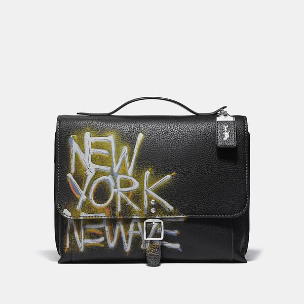 Coach X Jean-Michel Basquiat Rogue Messenger In Untitled 1980, 0I/BLACK, hi-res