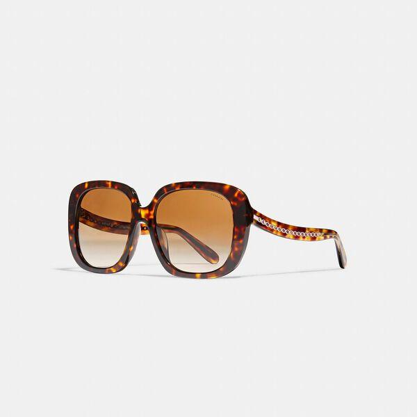 Sculpted Signature Square Frame Sunglasses, DARK TORTOISE, hi-res
