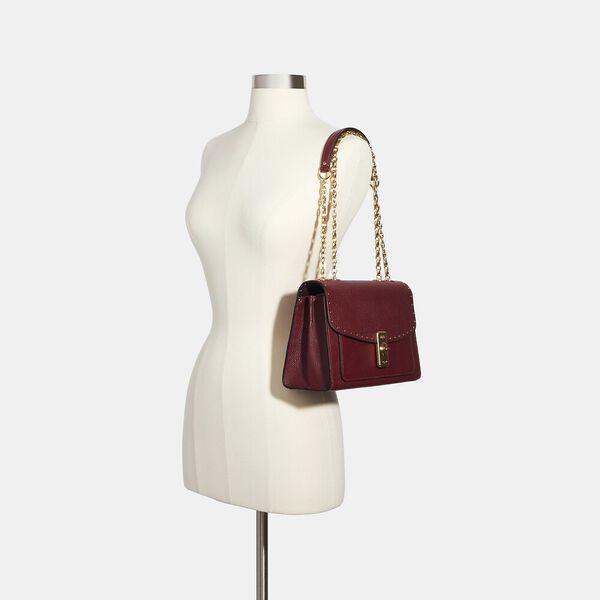 Lane Shoulder Bag With Rivets, IM/DEEP RED, hi-res