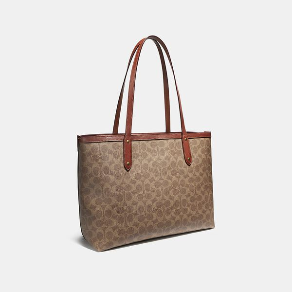 Central Tote With Zip In Signature Canvas, B4/TAN RUST, hi-res