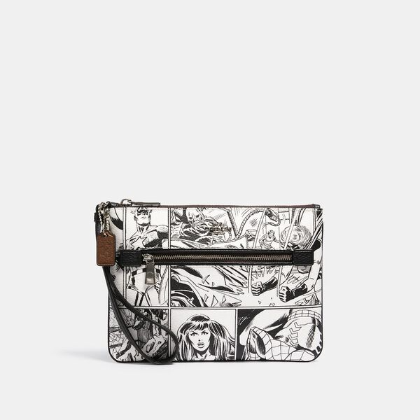 Coach x Marvel Gallery Pouch With Comic Book Print, SV/LT CHALK/ BLACK, hi-res