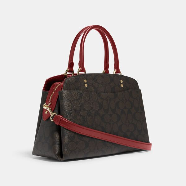 Lillie Carryall In Signature Canvas, IM/BROWN 1941 RED, hi-res