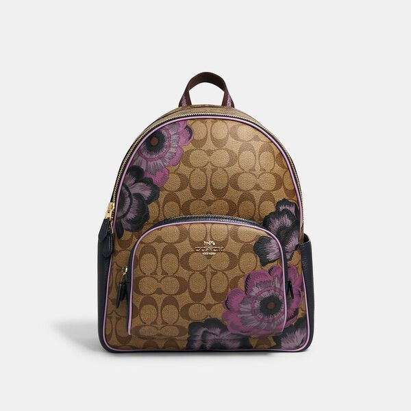 Court Backpack In Signature Canvas With Kaffe Fassett Print