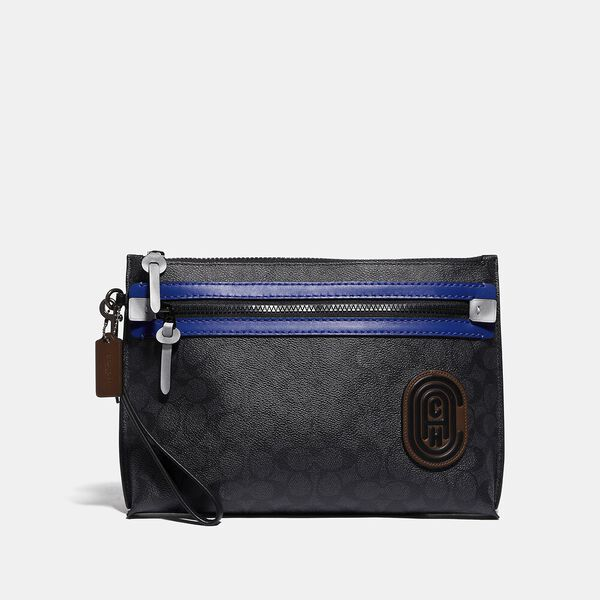 Academy Pouch In Signature Canvas With Coach Patch, CHARCOAL/SPORT BLUE, hi-res