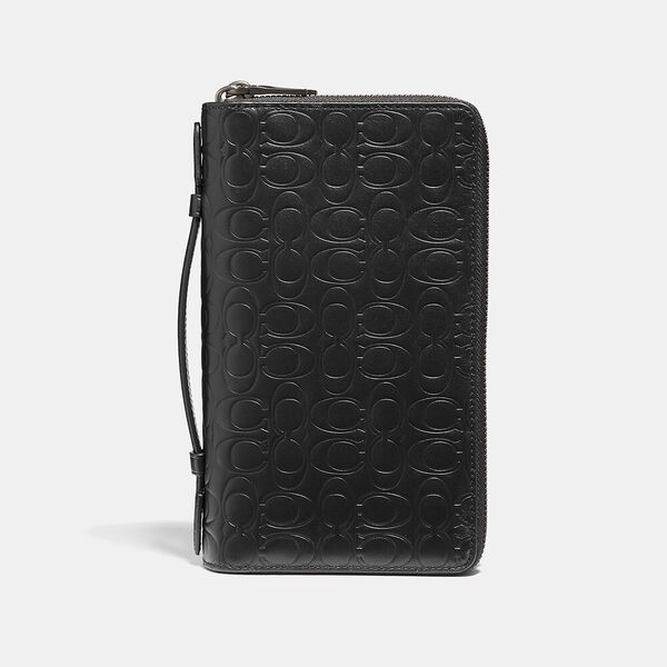 Double Zip Travel Organizer In Signature Leather, BLACK, hi-res