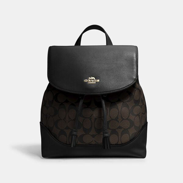 Elle Backpack In Signature Canvas, IM/BROWN/BLACK, hi-res