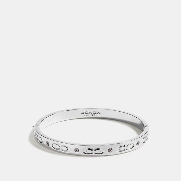 Signature Hinged Bangle, SILVER, hi-res