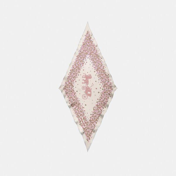 Horse And Carriage Tea Rose Print Silk Diamond Scarf, AURORA, hi-res