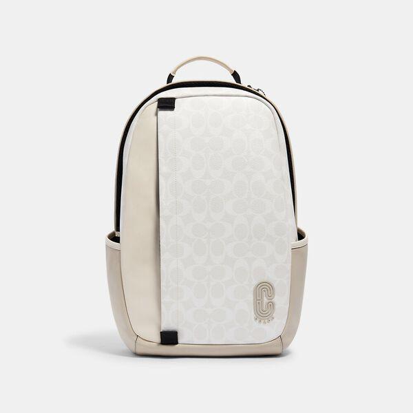 Edge Backpack In Signature Canvas, QB/CHALK STEAM, hi-res