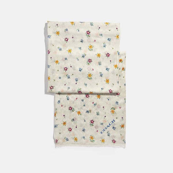 Signature Wildflower Print Oblong Scarf, CHALK, hi-res
