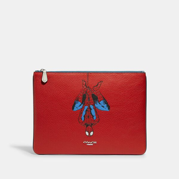 Coach x Marvel Large Pouch With Spider-Man, SV/MIAMI RED, hi-res