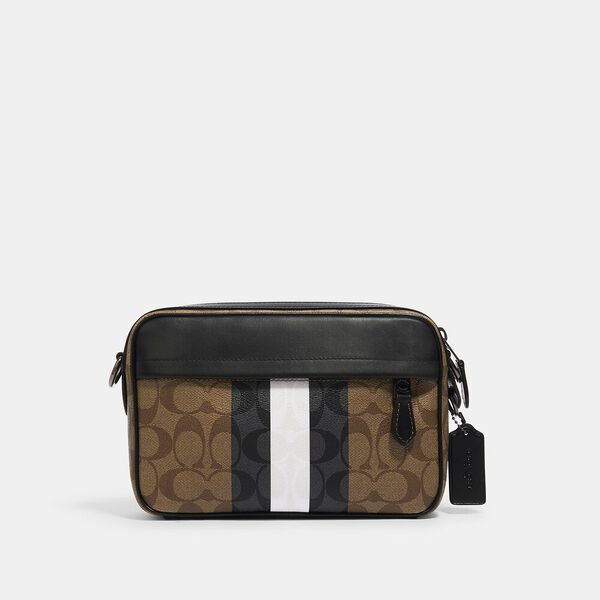 Graham Crossbody In Blocked Signature Canvas With Varsity Stripe, QB/TAN MULTI, hi-res