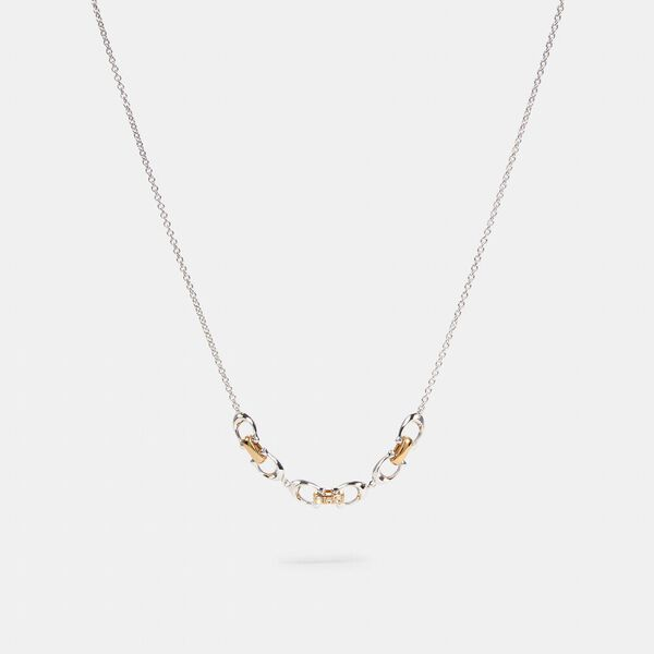 Linked Signature Necklace, SILVER/GOLD, hi-res