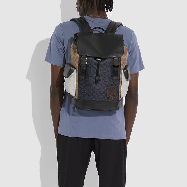 Rivington Backpack In Colorblock Signature Canvas, JI/CHARCOAL MULTI, hi-res