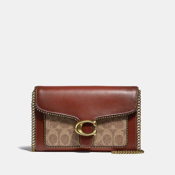 Tabby Chain Clutch In Signature Canvas With Beadchain, B4/TAN RUST, hi-res