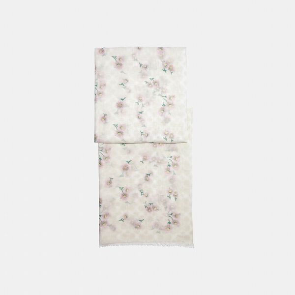 Signature Daisy Print Oblong Scarf, CHALK/PINK, hi-res