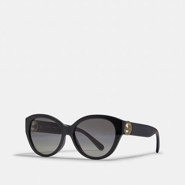 Oversized Metal Cat Eye Sunglasses, BLACK, hi-res