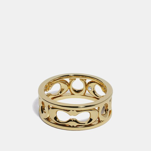 Pierced Signature Ring, GOLD, hi-res