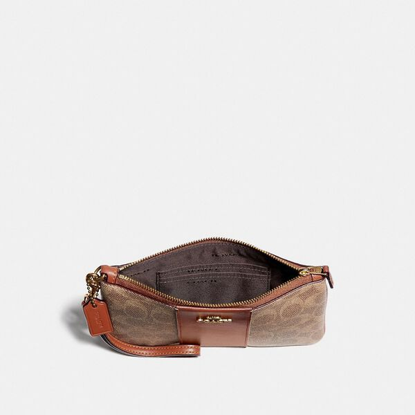Small Wristlet In Colorblock Signature Canvas, B4/TAN RUST, hi-res