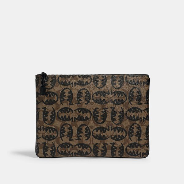 Large Pouch In Signature Canvas With Rexy By Guang Yu, QB/TAN BLACK, hi-res