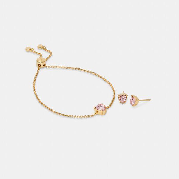 Heart Crystal Stud Bracelet And Earrings Set