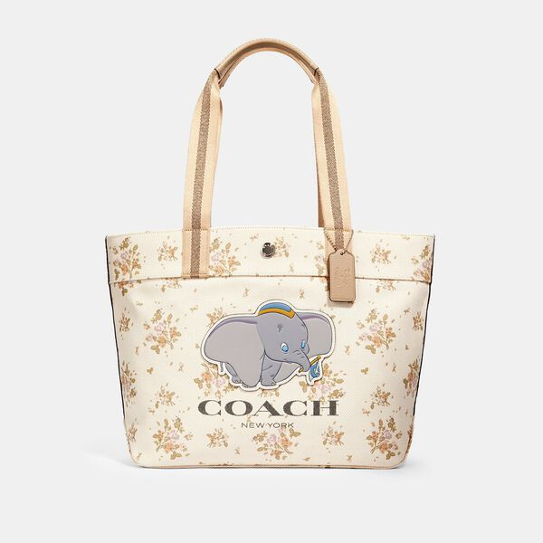 Disney X Coach Tote With Rose Bouquet Print And Dumbo, SV/CHALK MULTI, hi-res