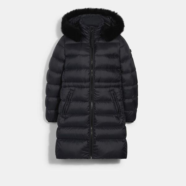 Long Slim Puffer With Shearling
