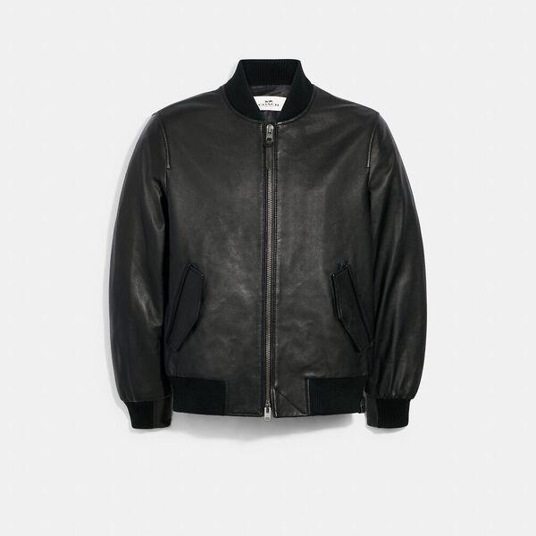 Leather Bomber, BLACK, hi-res