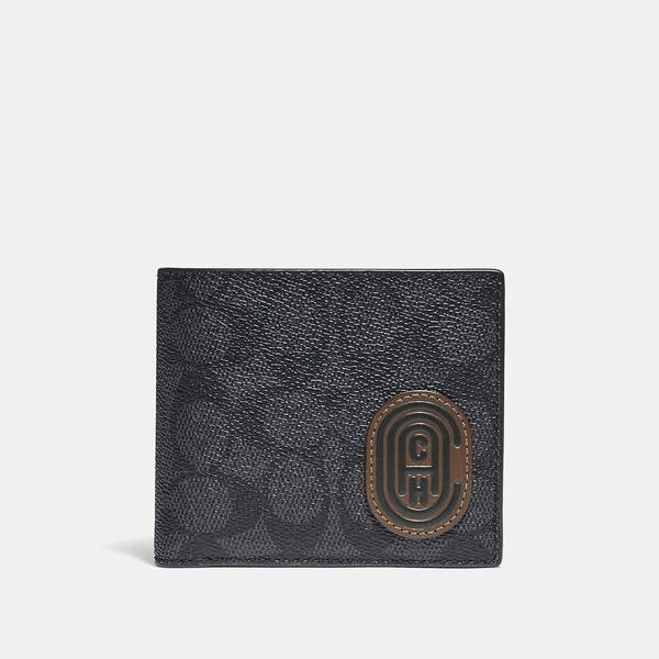 Coin Wallet In Signature Canvas With Reflective Coach Patch