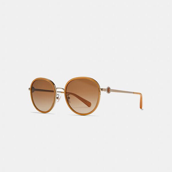 Metal Round Sunglasses, MILKY AMBER, hi-res