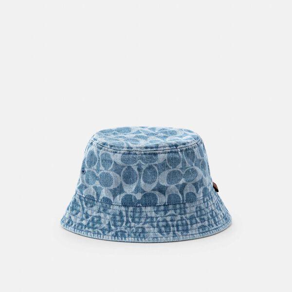 Signature Denim Bucket Hat, INDIGO, hi-res